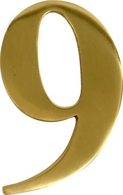 3'' Brass Door Numeral 9-0