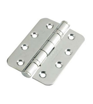 Ball Bearing Door Hinge Grade 13  102 X 76 X 3 Polished Stainless Steel Radius End (Pair)