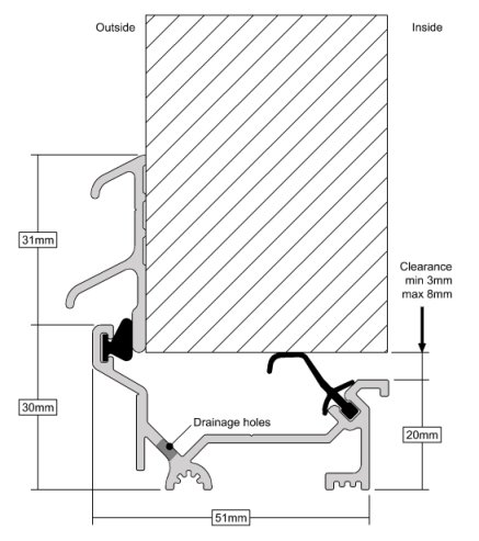 Stormguard Dry X Inward Opening Weatherbar 2100mm Gold-1475