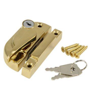 Securifitch Locking Sash Fastener PVD Gold