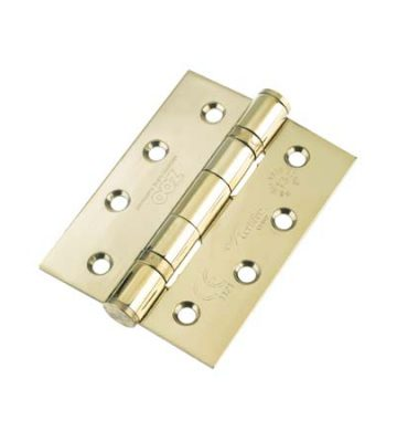 Ball Bearing Door Hinge Grade 13  102 X 76 X 3 PVD Brass Square End (Pair)