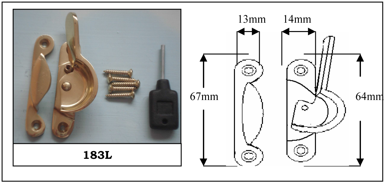 183L Fitch Fastener Locking C/w Narrow Keep Polished Brass