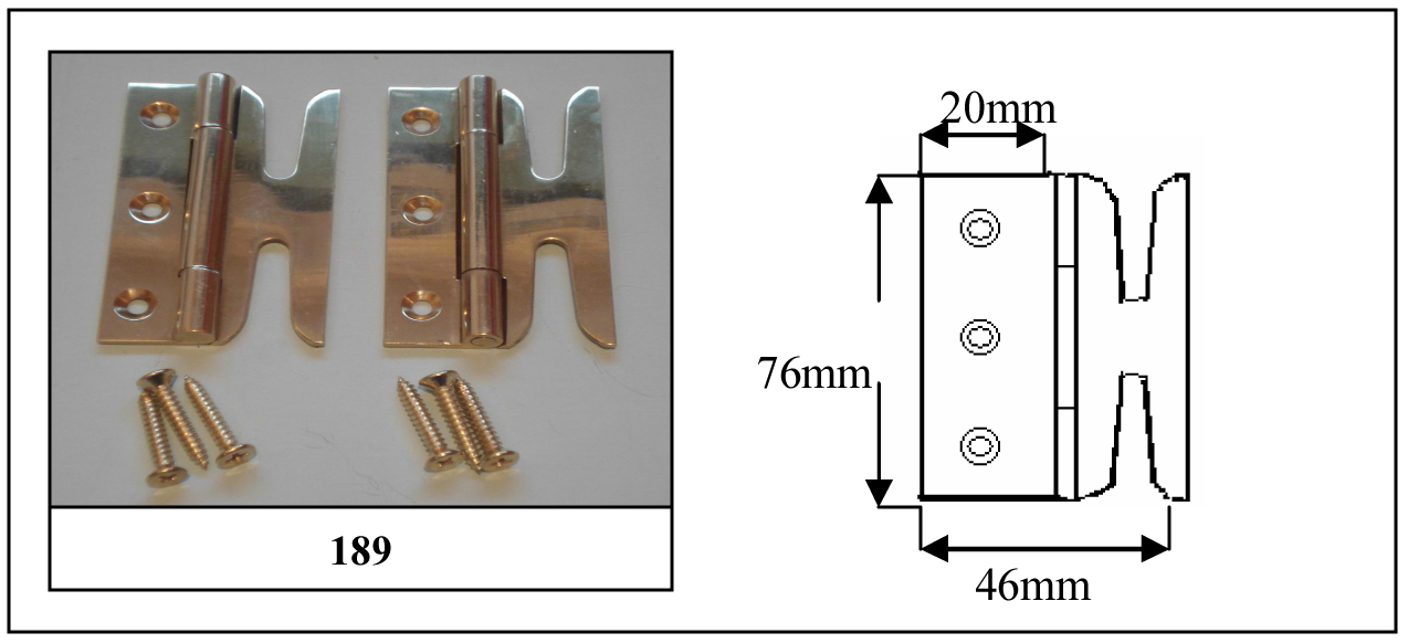 189 Solid Brass Simplex Hinges (pair) Chrome Plated