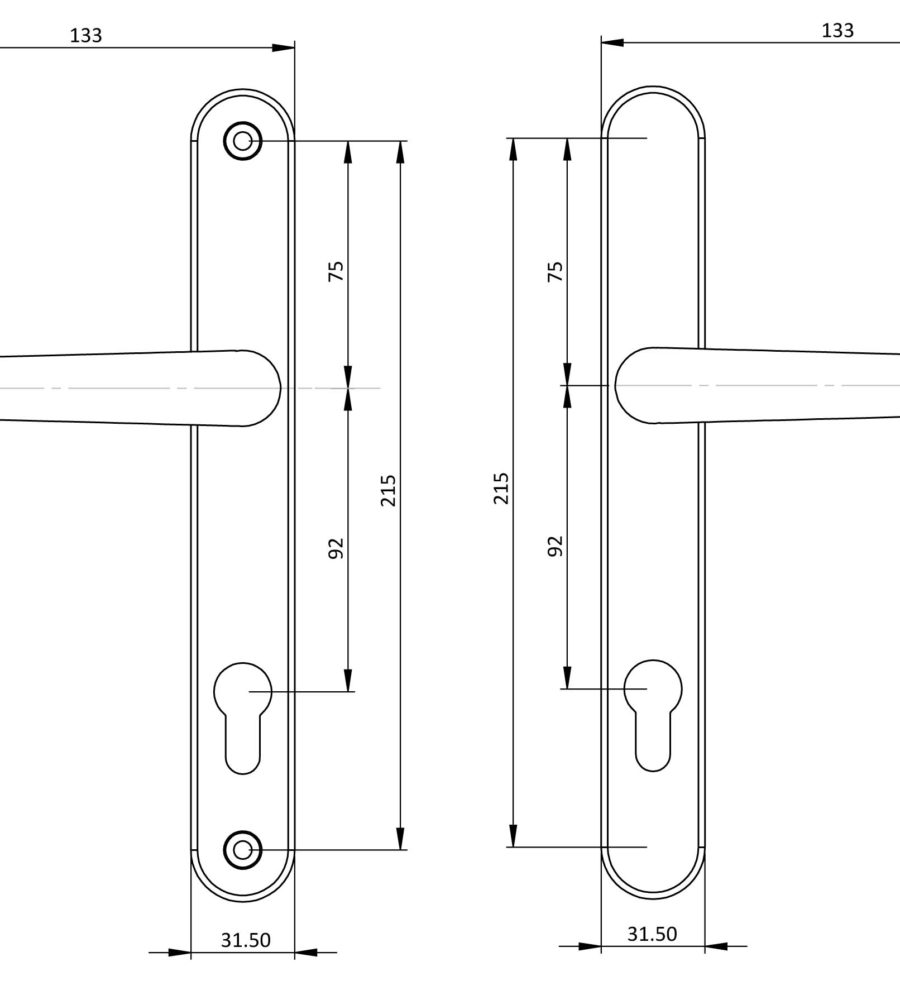 Endurance White Lever Door Handle 92mm Centres-2021