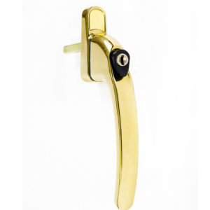 Endurance Inline Locking Polished Gold Window Handle 30mm Spindle