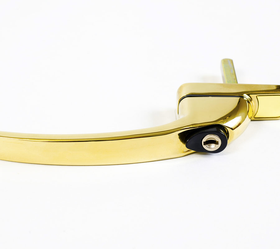 Endurance Inline Locking Polished Gold Window Handle 40mm Spindle-2104