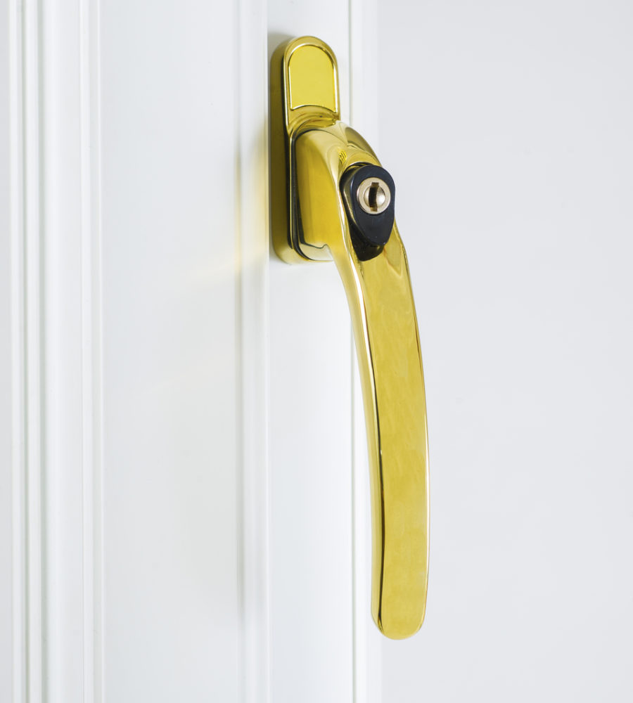 Endurance Inline Locking Polished Gold Window Handle 40mm Spindle-0