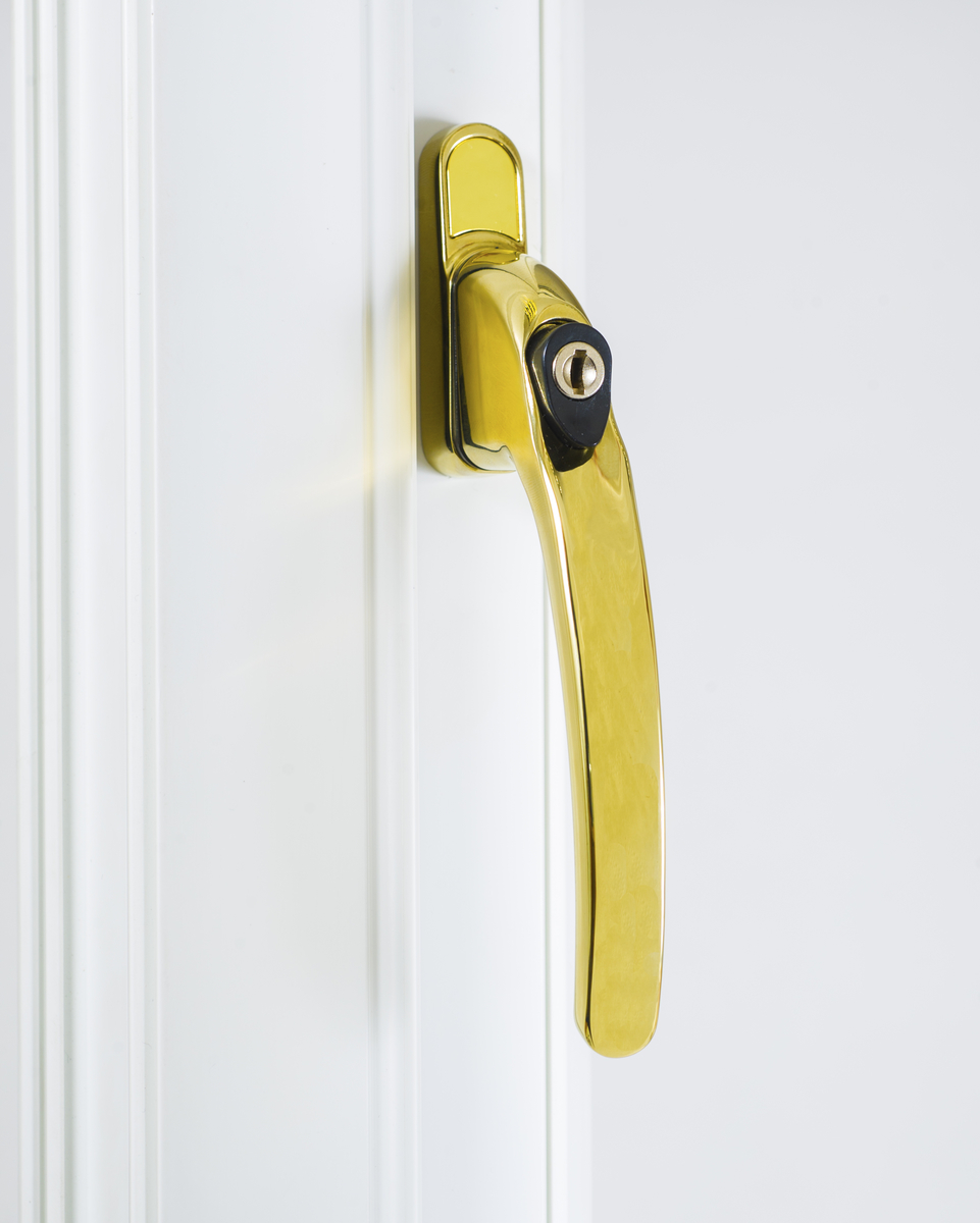 Endurance Inline Locking Polished Gold Window Handle 40mm Spindle