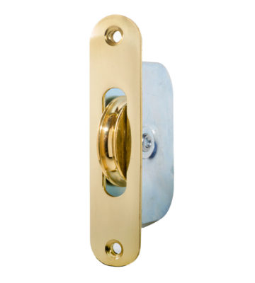 "Endurance Radius Sash Pulley Wheel 1 3/4"" Wheel Polished Brass"