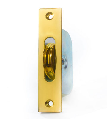 "Endurance Square Sash Pulley Wheel 1 3/4"" Wheel Polished Brass"