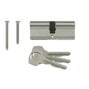 Yale 6 Pin Euro Profile Cylinder Lock Nickle 35/45 (80mm) C/w 3 Keys