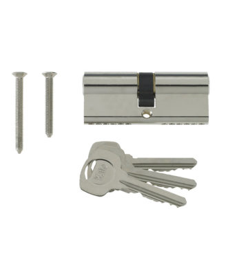 Yale 6 Pin Euro Profile Cylinder Lock Nickle 35/45 (80mm) C/w 3 Keys