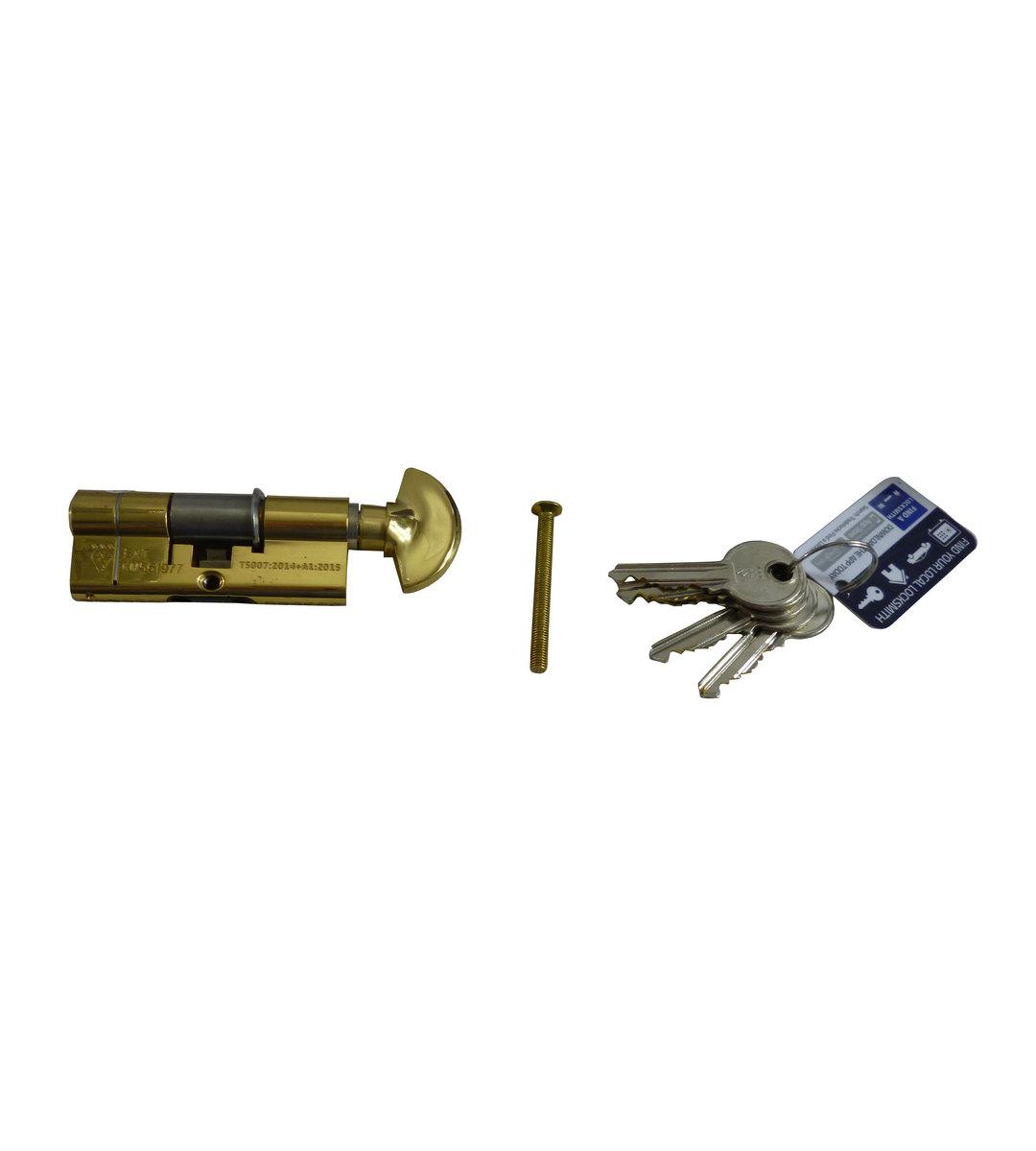 Euro Lock Thumb Turn Barrel Keyed Different Brass, 35 x 35