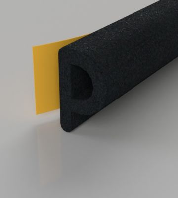 Stormguard Black EPDM P Profile Draught Excluder 6M