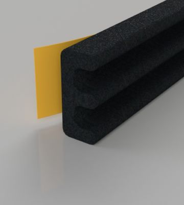 Stormguard Black EPDM E Profile Draught Excluder 6M