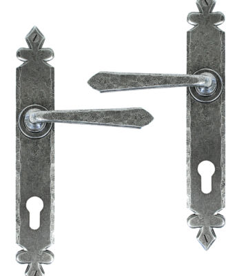 From The Anvil Pewter Cromwell Lever Espag. Lock Set