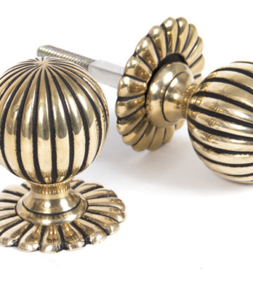 From The Anvil Aged Brass Flower Mortice Knob Set
