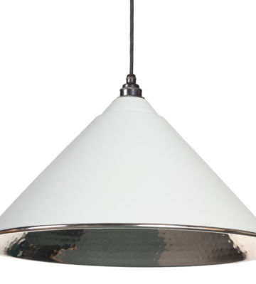 From The Anvil Light Grey Hammered Nickel Hockley Pendant