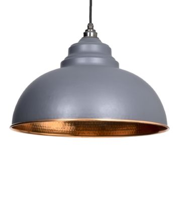 From The Anvil Dark Grey & Hammered Copper Harborne Pendant