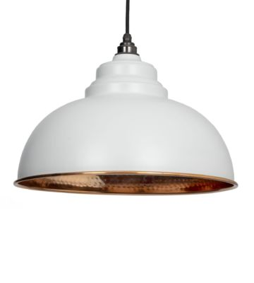 From The Anvil Light Grey & Hammered Copper Harborne Pendant