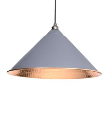 From The Anvil Dark Grey & Hammered Copper Hockley Pendant