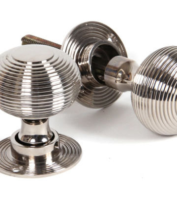 From The Anvil Polished Nickel Heavy Beehive Mortice/Rim Knobs