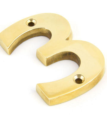 From The Anvil Polished Brass Numeral 3