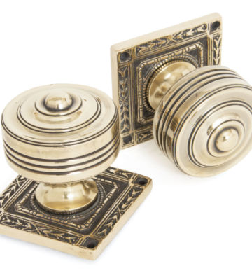 From The Anvil Aged Brass Tewkesbury Square Mortice Knob Set