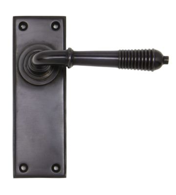 From The Anvil Aged Bronze Reeded Lever Latch Set
