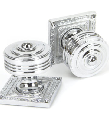 From The Anvil Polished Chrome Tewkesbury Square Mortice Knob Set