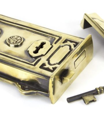 From The Anvil Aged Brass Davenport Rim Lock