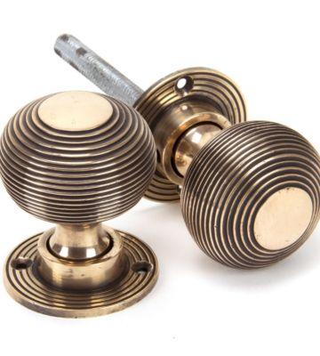 From The Anvil Polished Bronze Heavy Beehive Mortice/Rim Knob Set