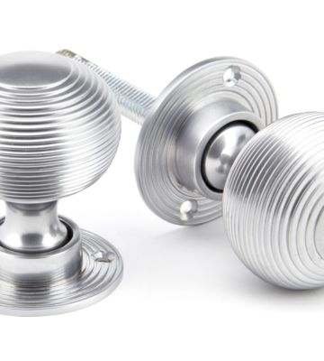 From The Anvil Satin Chrome Heavy Beehive Mortice/Rim Knob Set
