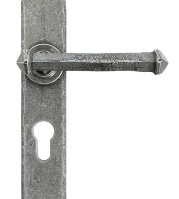 From The Anvil Pewter Tudor Lever Euro Lock Set