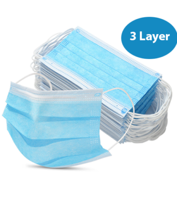 50 X 3 Layer Face Masks With 99% Micro Filter Layer