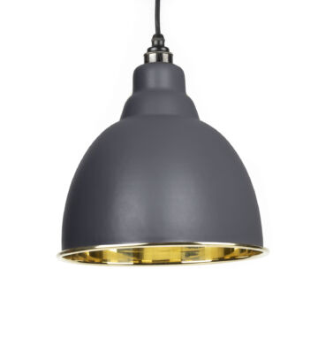 From The Anvil Dark Grey & Smooth Brass Brindley Pendant