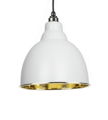From The Anvil Light Grey & Smooth Brass Brindley Pendant