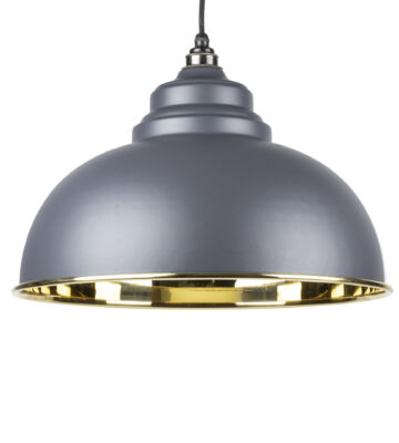 From The Anvil Dark Grey & Smooth Brass Harborne Pendant