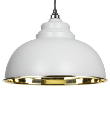 From The Anvil Light Grey & Smooth Brass Harborne Pendant