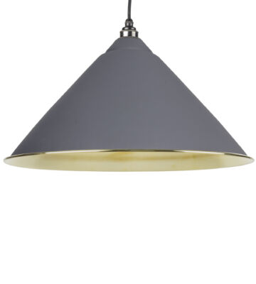 From The Anvil Dark Grey & Smooth Brass Hockley Pendant